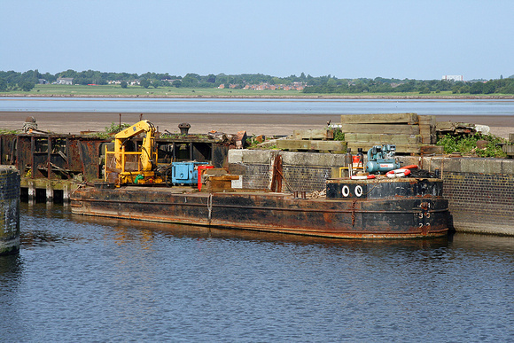 Workboat tied up in the old lock